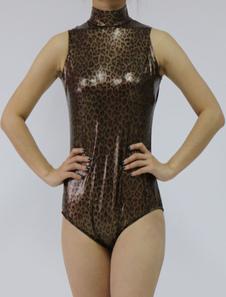 Блестящий металлический Зентаи костюм темно-коричневый леопарда печати рукавов женщин купальник Хэллоуин