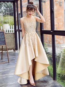 Атласная Пром платье кружева аппликация высокий низкий вечернее платье света Золотая жемчужина рукавов Плиссированные платье партии