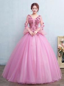 Vestido de Noiva Princesa Lace up em forma de princesa decote V cauda até ao chão