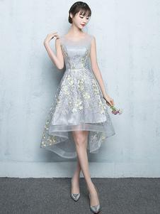 Vestidos de fiesta cortos Vestido de Baile de gris claro con escote redondo De banda de encaje de línea A sin mangas de encaje