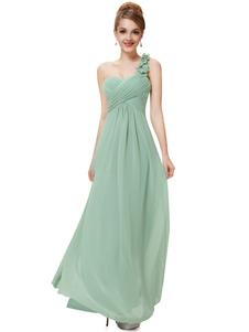 Длинные платья невесты платья Sweatheart шифон Пром платья 2020 одно плечо цветы ремень мудреца зеленый плиссированные этаж Длина платья случаю