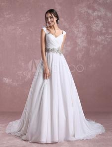Шифон свадебное платье Ivory Милая свадебное платье отбортовывать Sash плиссированные линии свадебное платье с собор поезд