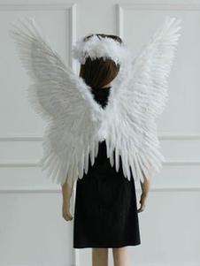 Halloween partido traje acessório branco anjo penas asas Halloween