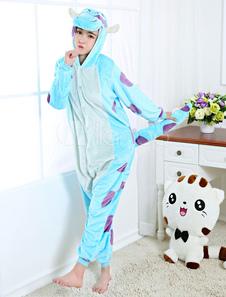 Disfraz Carnaval Kigurumi pijama Sulley Onesie franela azul anime ropa de noche para adultos espalda con cremallera Halloween Carnaval