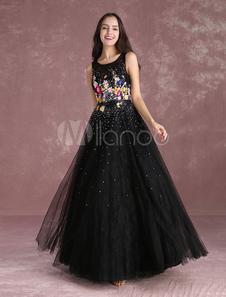 Abbigliamento da Galà svasato con scollo tondo nero ricamato perline a terra zip smanicato in tulle per la festa della maturità