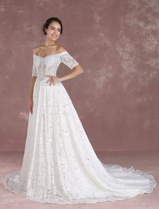 Vestido de novia encaje estilo princesa con escote de hombros caídos hombro caído De banda de encaje con 1/2 manga Con cola Catedral