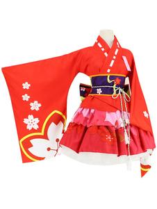 اليابانية أنيمي الفتيات كيمونو تأثيري حلي الأسود ساكورا كيمونو هالوين
