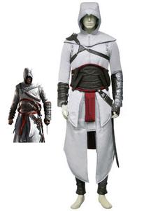 Carnaval Disfraz de Assassins Creedblanco con abrigo&con accesorio&con protector del codo&con pantalones&con guantes&Faja&Gorra suave Halloween
