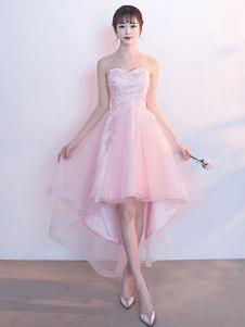Платье для выпускного вечера Blush Homecoming Soft Pink Высокое низкое платье для выпускного вечера Tulle без бретелек Милая кружевная аппликация Линейное платье для выпускного платья со съемной шалью