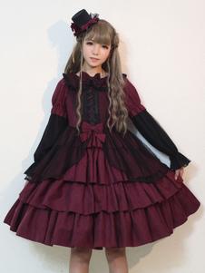 Готическое платье Лолиты Темная сказка OP Neverland Bow Слоистые оборки Бургундия Лолита One Piece Dress