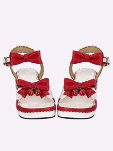 Sandalias de lolita de puntera abierta de plataforma blancas con lazo