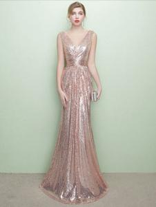 Vestido de noche con lentejuela de color champaña sin mangas con cuello en V con pliegues