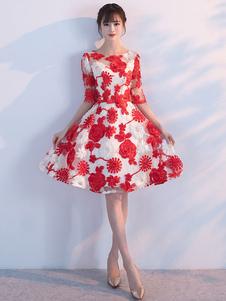 Платья с коротким выпускным платьем с вышивкой из выпускного вечера с коротким рукавом с коротким рукавом