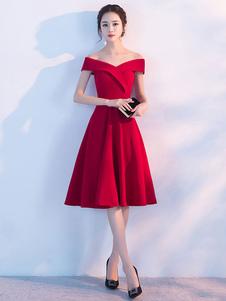 Vestiti da ritorno a casa di Borgogna fuori dai vestiti da promenade alla spalla Seta elastica come abito da cocktail in raso