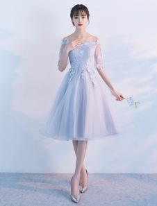 Tulle Homecoming Dresses Off The Shoulder Short Prom Платье Кружево Аппликация Светло-серое платье для коктейля