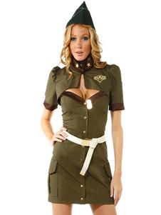 Сексуальные костюмы Костюмы Охотника Зеленый Полицейский костюм в наборе из 4 предметов Хэллоуин