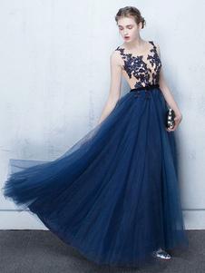 Платье выпускного вечера темно-синего цвета Длительное вечернее платье из тюль-платья