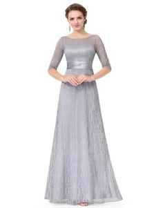 Vestido para la madre de los novios con escote redondo con 1/2 manga con diseño hueco de línea A hasta el suelo vestidos de madrina de boda vestidos para mamá