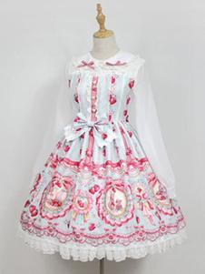 Sweet Lolita OP One Piece Dress Neverland Turndown Collar с длинным рукавом Bunny White Lolita Dress