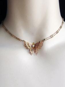 الكلاسيكية لوليتا قلادة الفراشة الأقواس مطرز الذهب لوليتا قلادة