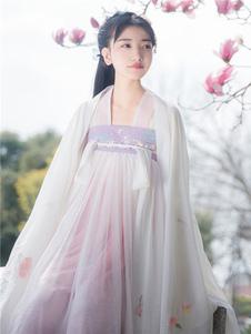 Vestido sem mangas Festa de Chá Estilo china de gaze color block branca conjunto com mangas compridas