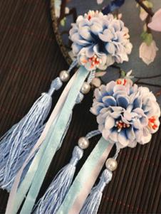 النمط الصيني لوليتا أغطية الرأس الزهور هامش مطرز تشى لوليتا الملحقات