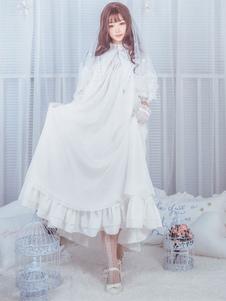 Классический Lolita OP One Piece Платье Стенд Воротник с длинными рукавами Оборки Украшает белые платья Лолита с луками