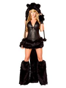 Сексуальный костюм медведя Хэллоуин Черный костюм из искусственного меха в 4 части Хэллоуин