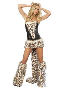 Костюм сексуального леопарда Хэллоуин Женский леопардовый костюм из искусственного меха в 4 части Хэллоуин