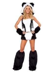 Sexy Panda Костюм Хэллоуин белый белый костюм искусственного меха набор в 4 части Хэллоуин