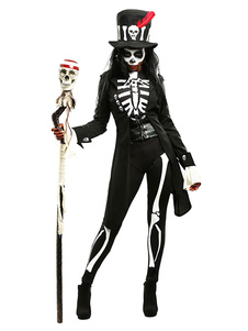 Disfraz Carnaval Disfraz de los Muertos estilo de miedo de esqueleto estilo femenino con gorra& patalones cortos&Faja elástica& mono& abrigo Halloween Carnaval