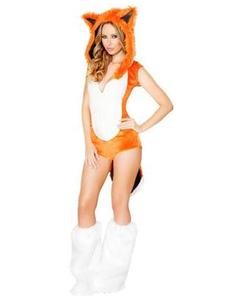 Sexy Fox Костюм Хэллоуин женщин оранжевый Faux комбинезон с обувью и шляпой Хэллоуин