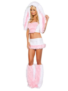 Sexy Bunny Costume Halloween Women's Soft Pink Faux Fur Costume Set Em 4 Pieces Halloween
