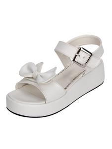 Sandalias de lolita de puntera abierta de tacón de cuña Color liso
