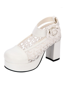 Zapatos de lolita de PU de puntera redonda Color liso Fiesta del té