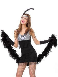 Vestidos años 20 negro  con lentejuela Charleston disfraz Disfraces Retro para Halloween fibra de poliéster de color-blocking estilo femenino
