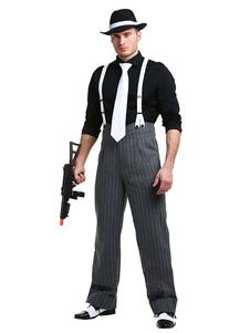 الرجال هالوين زي أسود العصابات سروال كتلة اللون مع حزام الكتف وربطة عنق التعادل