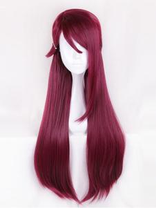 Carnaval Peluca de cosplay de fibra resistente al calor de Love Live!de color borgoña con peluca