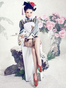 Costume Carnevale Costume Cinese in raso bianco scarpe cina scarpe carnevale etnico
