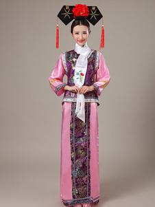 Fantasia china de fibra poliéster para Halloween em estilo étnico Tecido de Cetim chinês