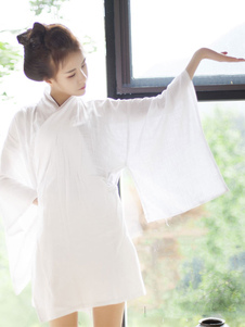 Traje japonês de Halloween Traje asiático Quimono curto branco feminino