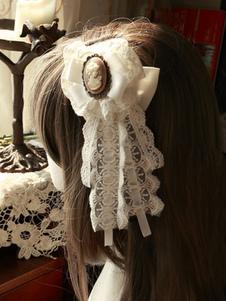 الكلاسيكية لوليتا دبوس الشعر ماجيك حفل الشاي الشيفون الأقواس تفاصيل معدنية الأبيض لوليتا أغطية الرأس