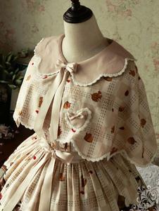 Sweet Lolita Cloak Magic Tea Party Chiffon Peter Pan Collar Животное Печать Кружевные луки Шампанское Лолита Понхос