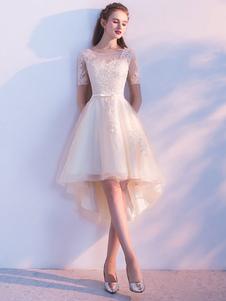 Шампанское Homecoming платья Tulle Пром платья с коротким рукавом кружева аппликация Sash круглые шеи линии высокой низкой партии платья