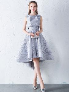Lace Homecoming Dress Светло-серые без бретелек Линейные платья с высокими низкими коктейльными платьями с курткой