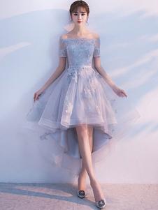 Светло-серый выпускной вечер из плеча Кружева аппликация с коротким рукавом Homecoming Dresses Sash A Line High Low Tulle Асимметричные вечерние платья