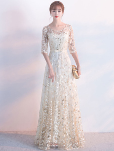 Vestido de gala para festa formal cauda até ao chão gola redonda com mangas de 1/2 Fecho de renda cor de champanhe Não Built-in Bra