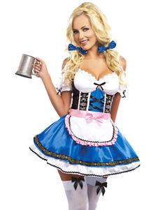 Костюм пивной девушки Октоберфест Хэллоуин Королевское синее женское платье с рваными кружевами с головными уборами Хэллоуин