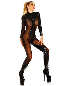 Costume Carnevale Catsuit per donno Carnevale set tuta Cosplay per adulti nero di PVC