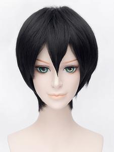 Anime Boys? Peruca preto peruca de cosplay curto Halloween